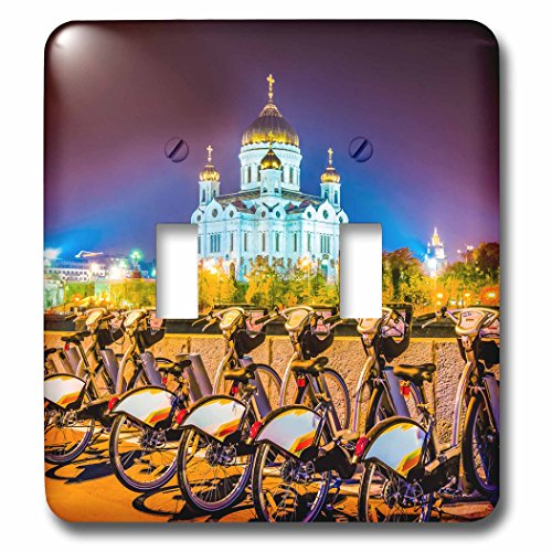 3dRose Alexis Photography - Moscow City - Moscow city - Cathedral of Christ the Savior and rent-a-bike station - Light Switch Covers - double toggle switch (lsp_271280_2)