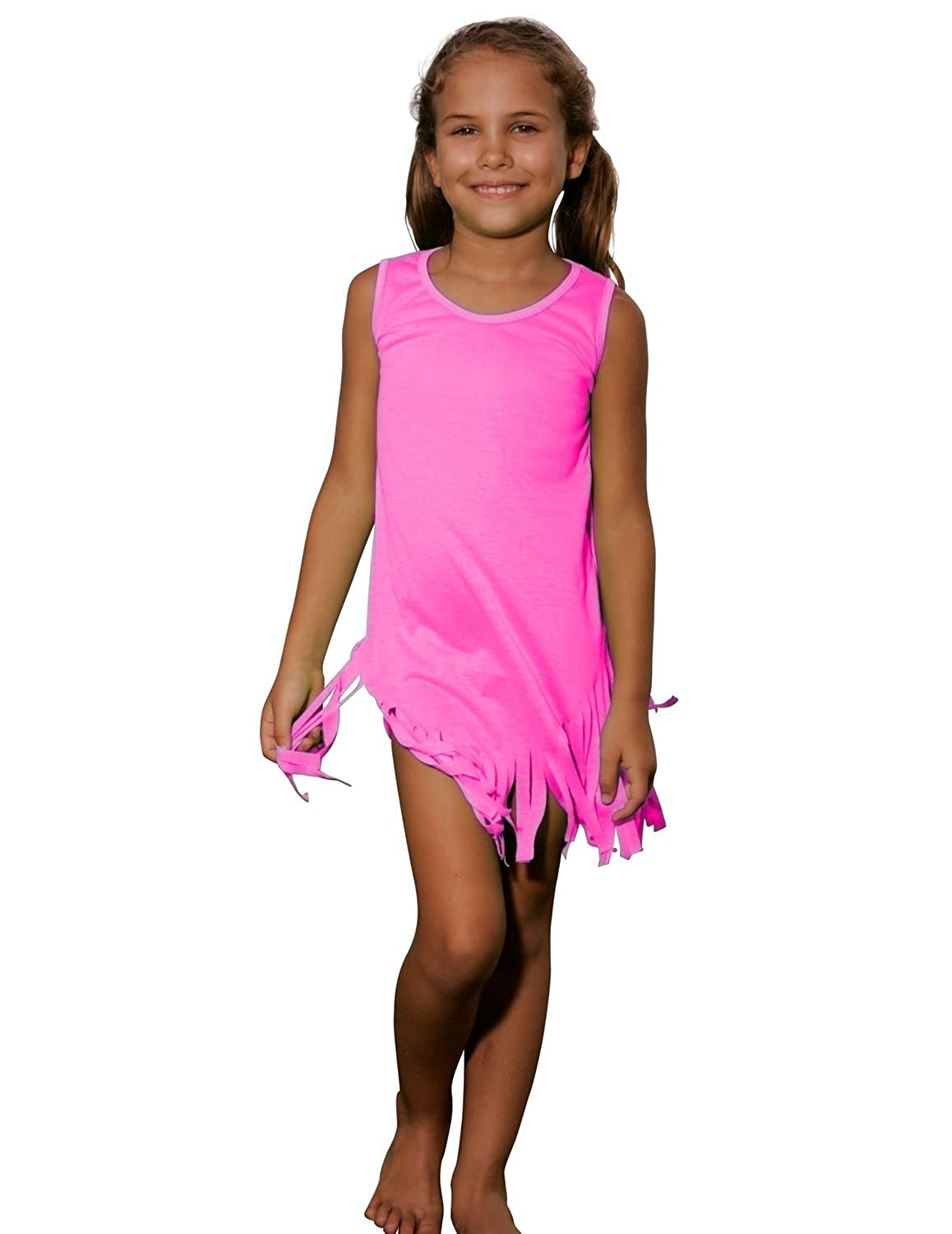 Ingear Solid Color Fringe Dress Cute Playwear Summer Beachwear Cover Up
