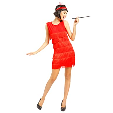 897ae59942d Amazon.com  1920s 1930s Ladies Fringed Flapper Costume Flapper Dress +  Headpiece Red  Clothing