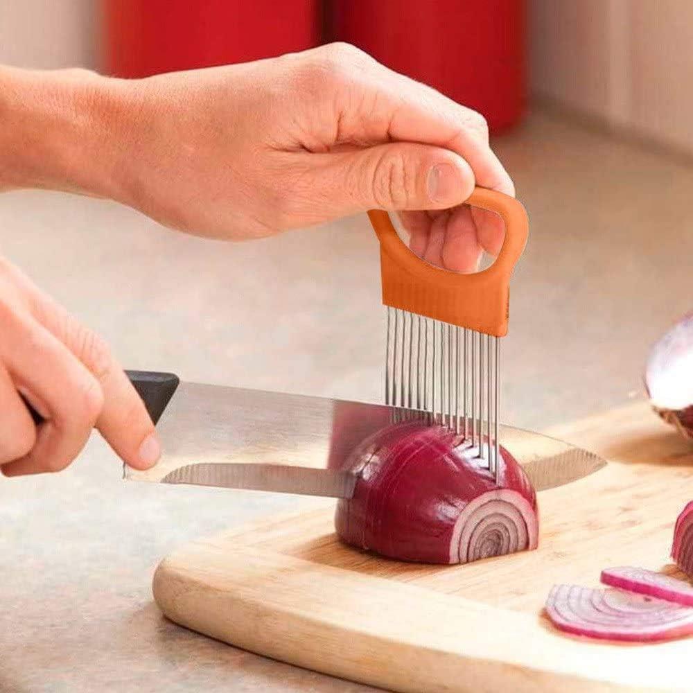 Slicer Food Assistant, Food Slicer Vegetable Tool Onion Holder Slicer and Chopper for Meat, Stainless Steel Vegetable Rack Slicers Meat Slicers Onion Peeler (2Pack, Orange)