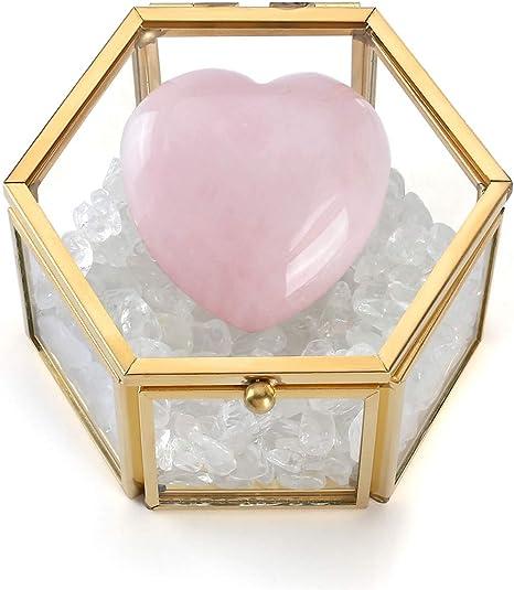 Anillo piedra cuarzo rosa forma de corazon