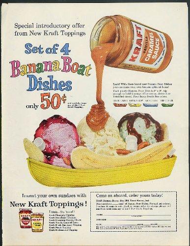 Dishes For Boats (Kraft Caramel Sauce Banana Split Banana Boat Dishes offer ad 1960)