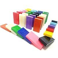 Domino Rush Assorted Toppling Dominoes - 100 Pcs Square Edge