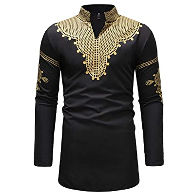 Men T-Shirt, Mens Casual Slim Fit African Print Dashiki Shirt Floral Tribal Festival Blouse Tops: Clothing