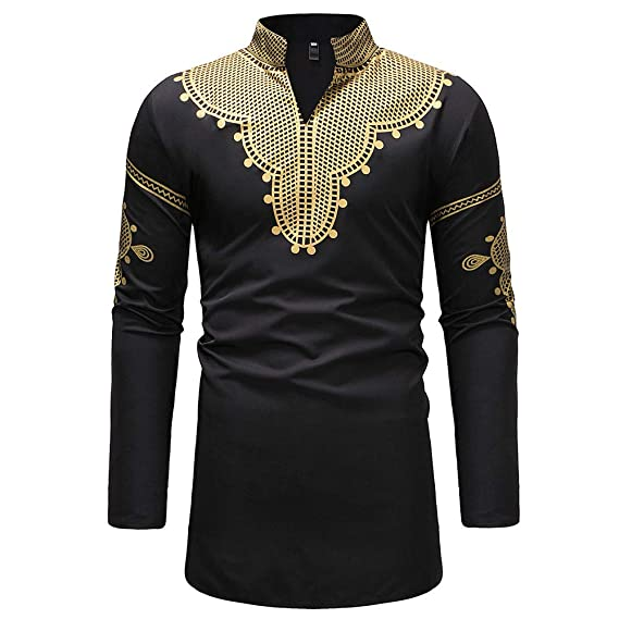 599279efffe Fatchot Men s Dashiki African Print Shirt Long Sleeve Button Up Blouse  Casual Traditional Thailand Style Tee Tops  Amazon.co.uk  Clothing