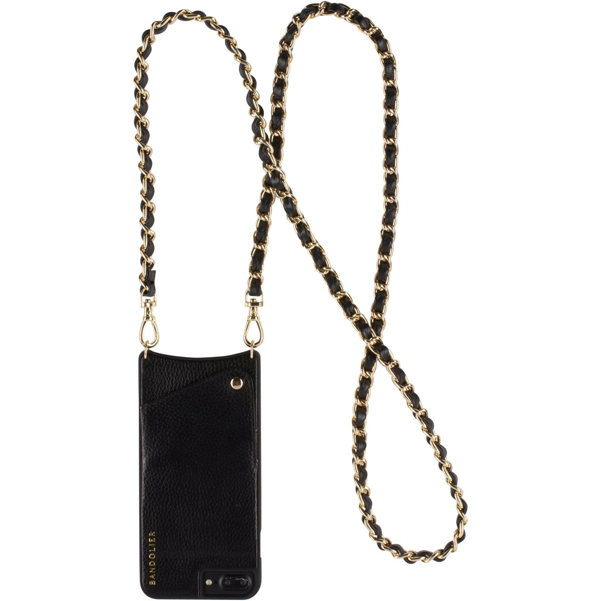 Phone Case For iPhone 8Plus, 7Plus + 6Plus | Luxury Black Leather Women Wallet + GOLD Hardware Cross-Body Strap Cell Case for ID & Credit Cards. Mobile Purse Carry Handsfree. Libby by Bandolier.