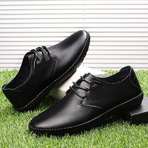 LYZGF Hommes Quatre Saisons Britannique Casual Mode Jeunesse Lacets Chaussures en Cuir Black AYtV9J