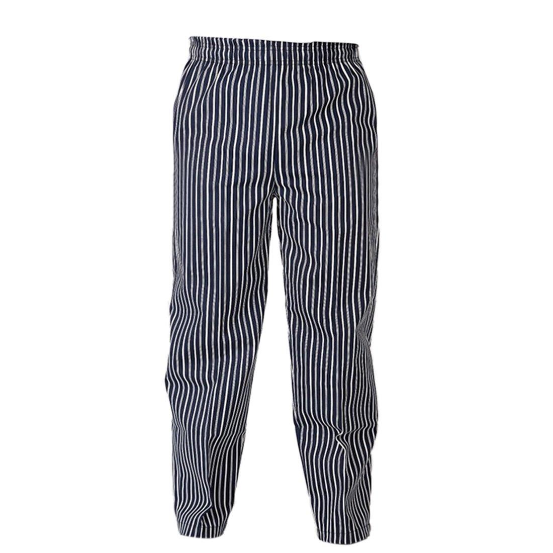 YUENA CARE Men Chefs Trousers Cotton Blend Baggy Cargo Pants Workwear (Blue White Stripe,Asian L)