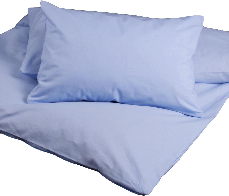Hans-Textil-Shop Kinderbettw/äsche 100x135 40x60 cm Hellblau Baumwolle Pflegeleicht, Universell verwendbar, Schadstoffgepr/üfter Stoff, Markenware