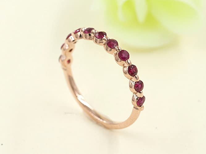 Amazon Com Ruby Matching Band Aaa Quality Ruby Half Eternity