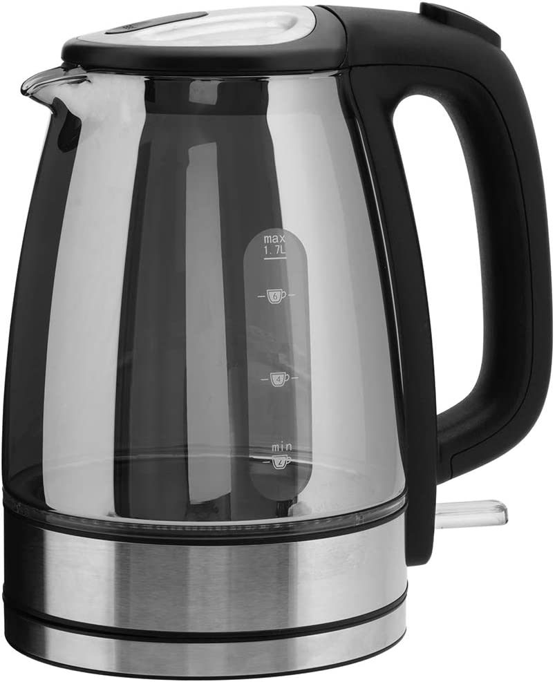 Sensio Home Electric Cordless Chrome Glass Kettle 1.7L Quiet Fast Boil with 3kW Rapid Boil Element White Illuminated LED Jug with Swivel Base and