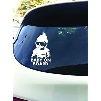 Decaltor Funny Car Window Laptop Vinyl Decal Baby on Board Hangover Sign Sticker, Size 5'': Automotive
