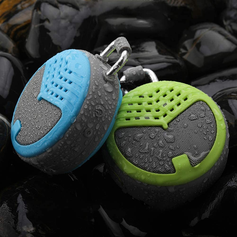 RONSHIN Portable Bluetooth Speakers,Mini Portable Round Waterproof Wireless Outdoor Subwoofer BT Speaker with Hang Buckle Green