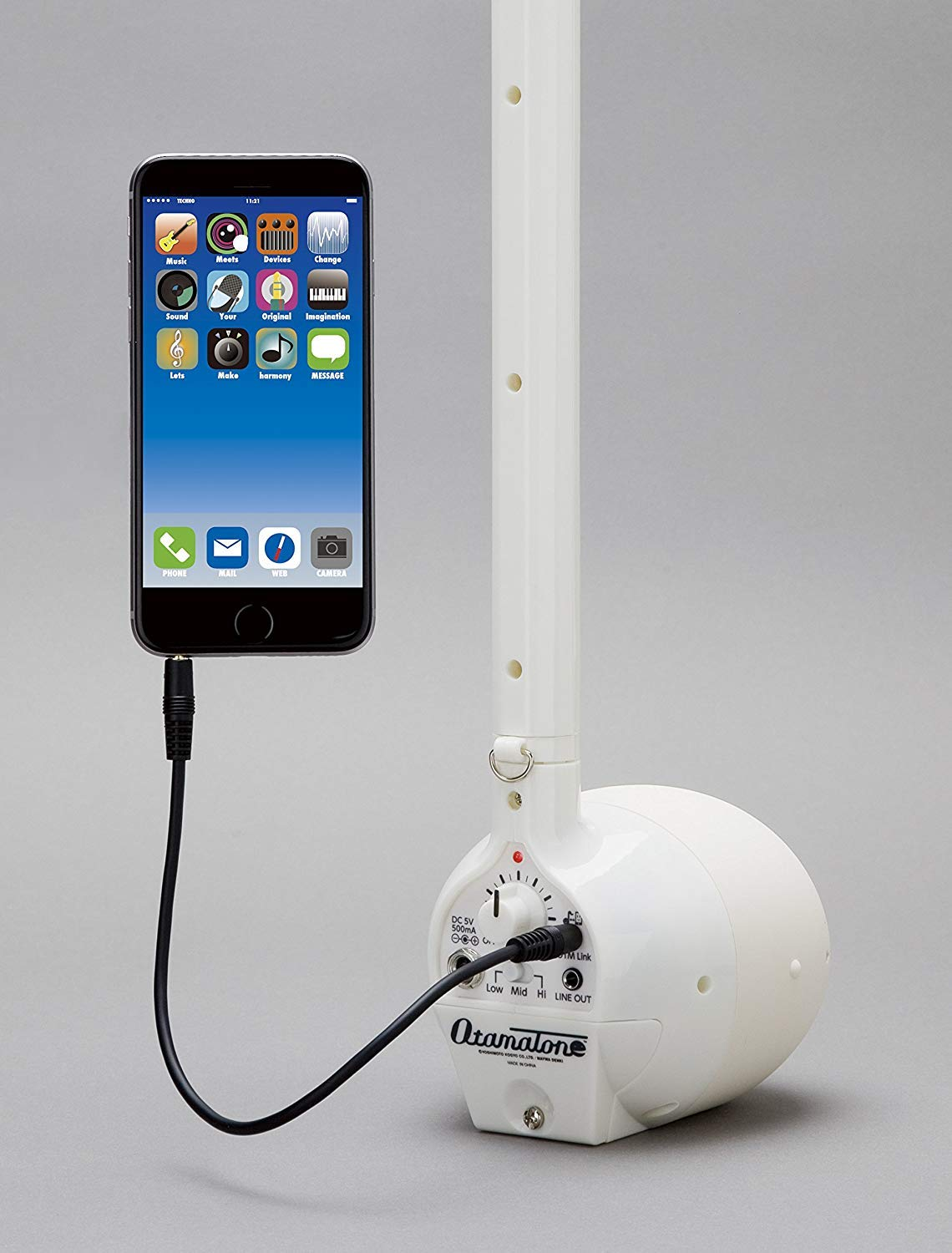 Otamatone ''Techno'' [Japanese Edition] Electronic Musical Instrument Synthesizer [Music Link connect] with a smartphone (iPhone and iPad iOS / Android App) from Japan by Cube / Maywa Denki, White by Otamatone (Image #4)
