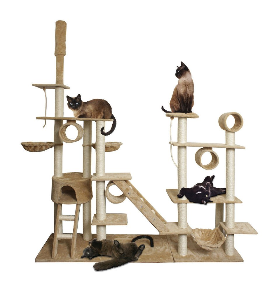 """96"""" Tan White Cat Tree Play House Gym Tower Condo Scratch Post Rope Basket Swing"""