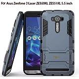 """Heartly Asus Zenfone 2 Laser Ze550Kl Ze551Kl 5.5"""" Back Cover Graphic Kickstand Hard Dual Rugged Armor Hybrid Bumper Case - Navy Black"""