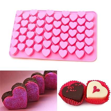 Waterstone Chocolate Candy moldes, bandejas de cubitos de hielo, 55 corazones molde para gelatina