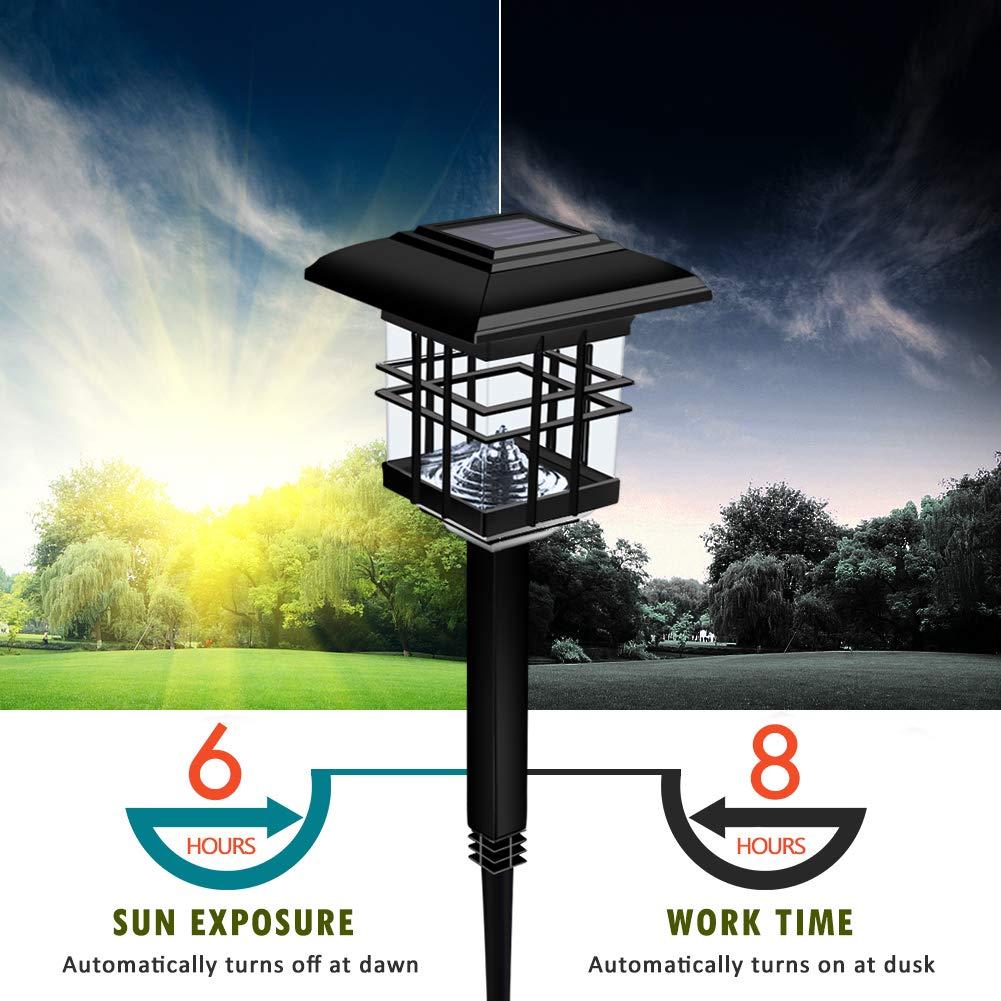 Lámpara Solar en Pilar WZTO Lámpara Solar al Aire Libre Impermeable 30 Lúmenes LED Luces Solares para La iluminación de La Calzada, Jardín, Patio, ...