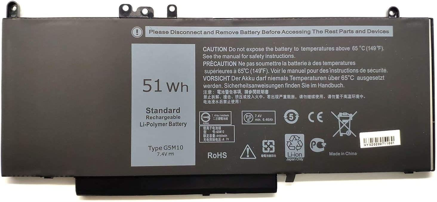 TanDirect New G5M10 51Wh Replacement Laptop Battery Compatible with Dell Latitude E5450 E5550 Notebook 15.6