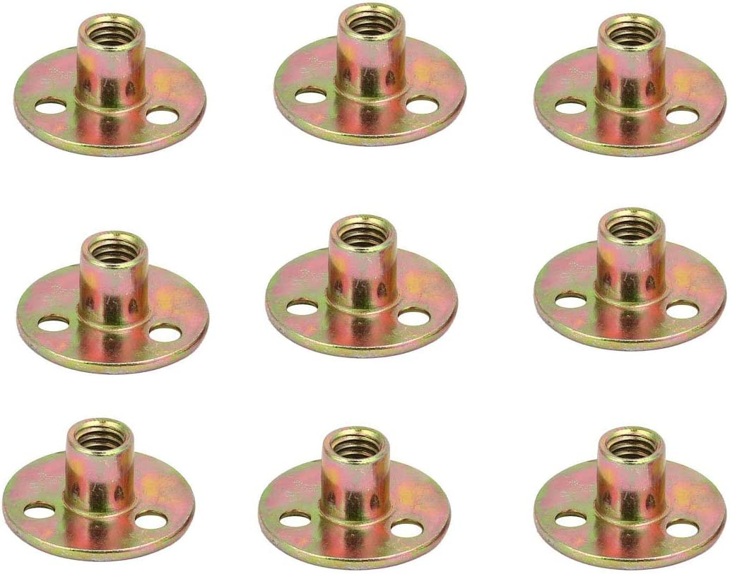 Socell Brad Hole Tee Nut Carbon Steel Round Base Screw-in T-Nut (5/16