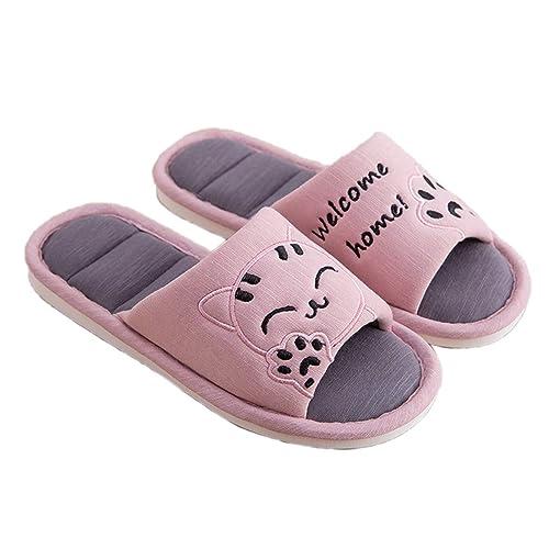 Zapatillas de Invierno Gato de Dibujos Animados Mujeres Chanclas Amantes Pareja Resbalón Cómodo Inicio Sandalias Plataforma Zapatos Calientes: Amazon.es: ...