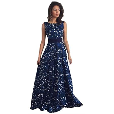 FUNIC Women Floral Long Formal Prom Dress, Party Gown Wedding Dress (Medium, Blue