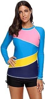 Oudan Costume da Bagno Intero Swimwear Stampato Camicia Monopezzo a Maniche Lunghe Blu, M (Colore : Come Mostrato, Dimensione : M)