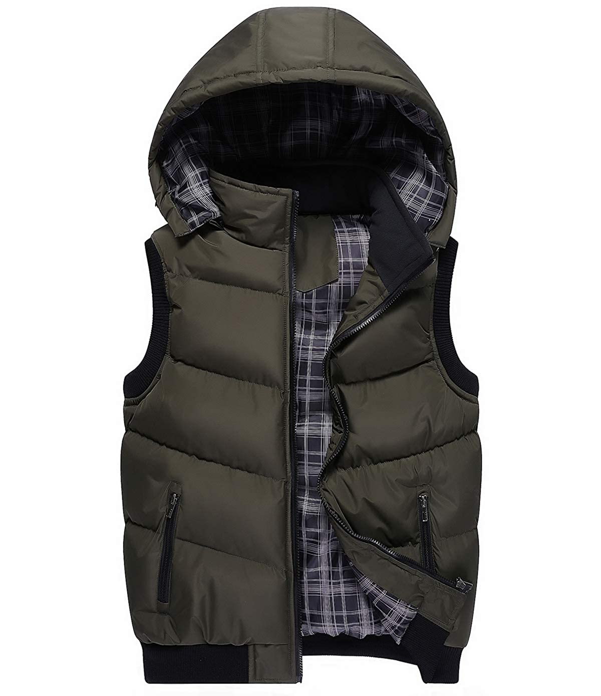 Fuwenni Mens Winter Removable Hooded Padded Quilted Vest Lightweight Outwear Jacket