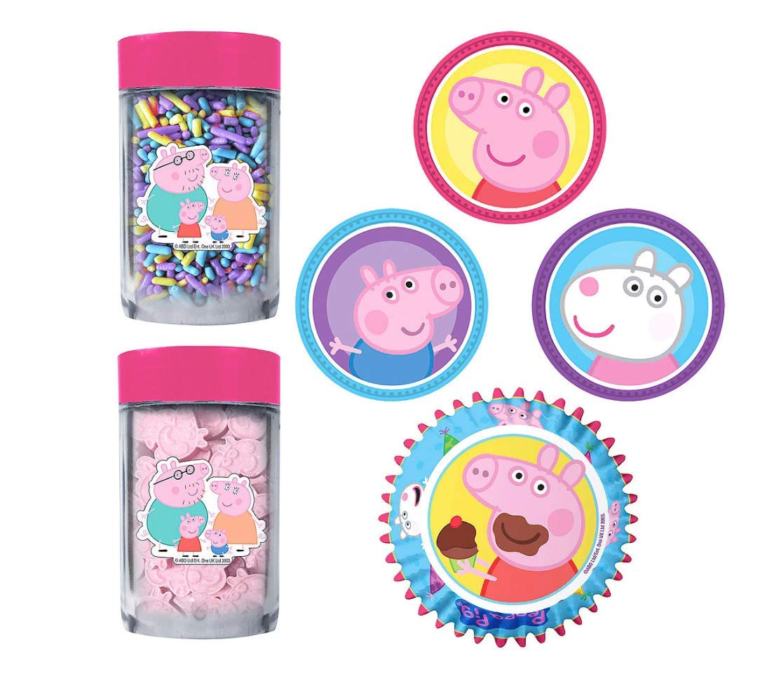 24 Cupcake Peppa Pig Decoration Kit Edible Decor Collectable Coins Birthday Party Supplies Peppa Pig