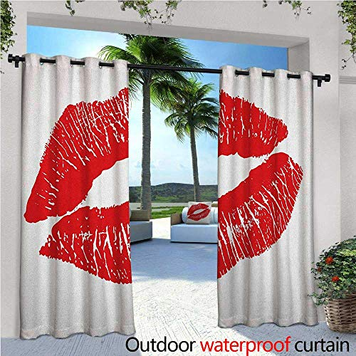 familytaste Kiss Fashions Drape Print of Lips Kiss Mark on White Background Seductive Trace with Grunge Display Outdoor Curtain Waterproof Rustproof Grommet Drape W120 x L96 Vermilion White