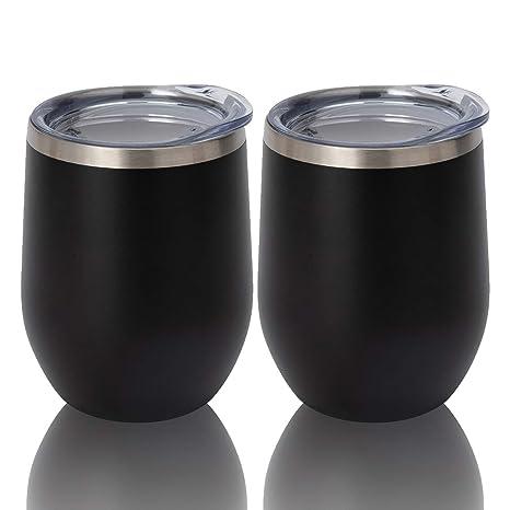 Amazon.com: HAPPYCUPS Vaso de vino aislado con tapa, 2 ...
