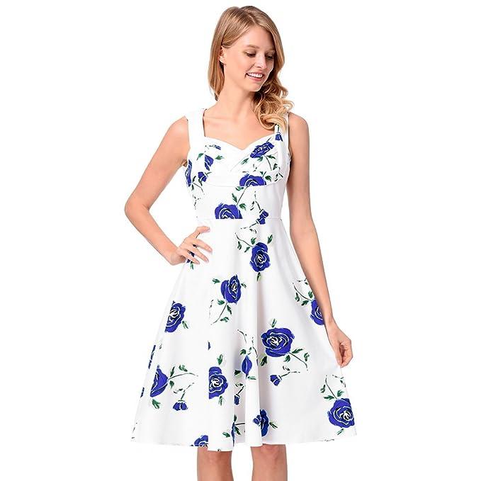 antaina Halter Estampado Floral Azul Vintage 1950S Una Línea Lindo Vestido Plisado Mujeres Oscilación