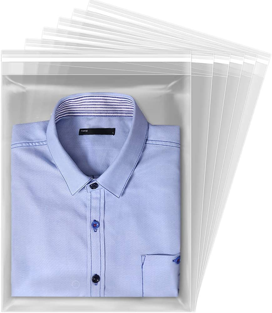 Tomnk 120pcs Clear Resealable Cellophane Bags, Self Sealing Bags, Plastic Packing Cello Bags for Shirt, Clothing and Magazine, 12×15 Inches