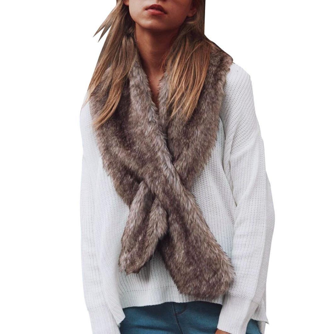 Bomdes Women Luxury Faux Fur Scarf Neck Warmer Wrap Collar Shawl Stole Hao Tech