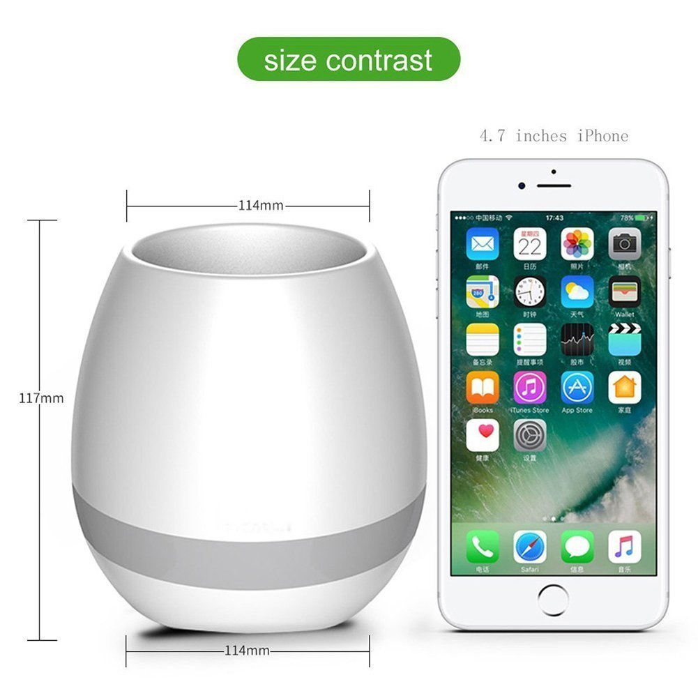 Music Plant Pot, ALBK LED Flower Pot Multi-color Night Light, Smart Touch Plant Piano Music Playing with Bluetooth Speaker as Gift, Decoration-USB Charge(Without Plants)