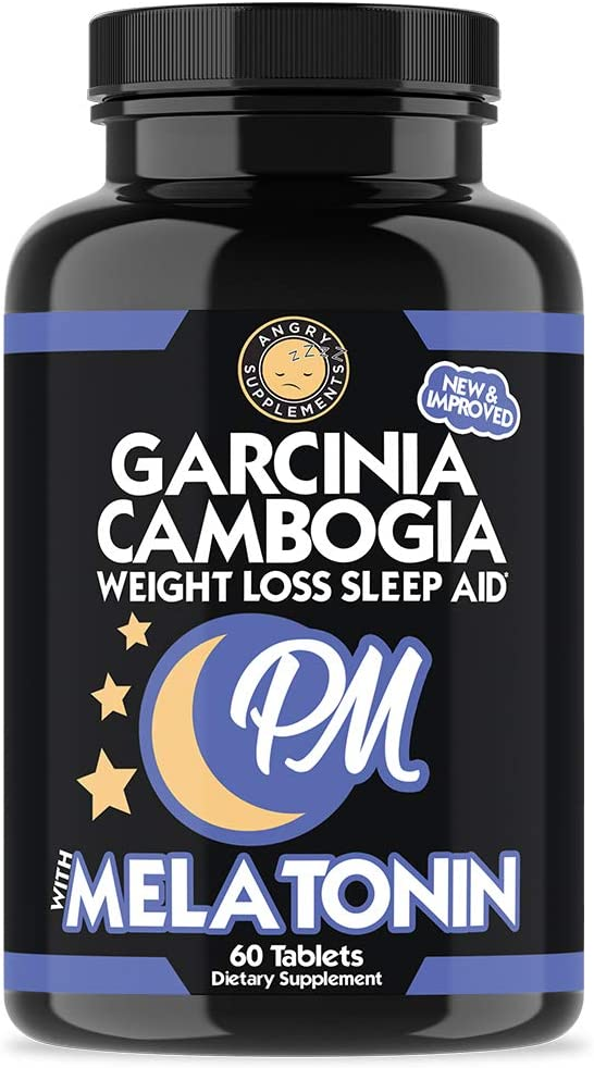 Garcinia Cambogia PM Weight Loss Sleep Aid, All Natural Supplement w/Valerian Root & Melatonin to Help Burn Fat Overnight, Night Time Appetite Suppressant, Vegetarian Formula (1-Bottle)