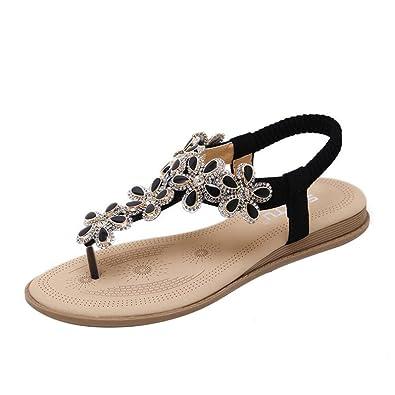 TAIYCYXGAN Mode Damen Sommer Schuhe Bohemien Sandalen Zehentrenner Sandalen Strandschuhe Beige 36 oeoWlHLjJ