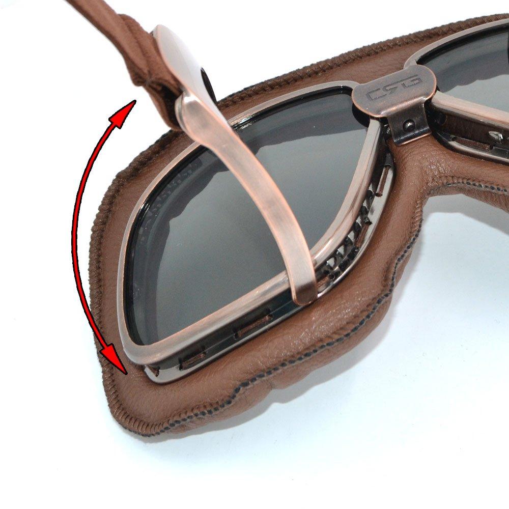 En similicuir CRG Lunettes de protection de style aviateur pour 2 roues ou sports de glisse ou extr/ême
