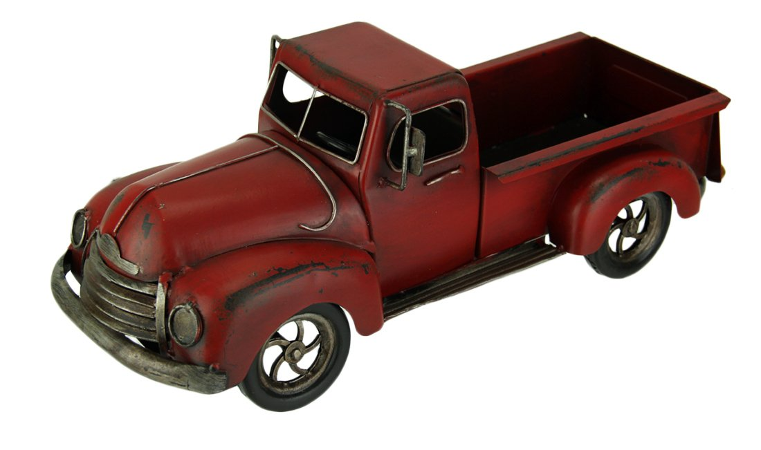 Audrey s Hand Painted Vintage Red Pickup Truck Metal Statue