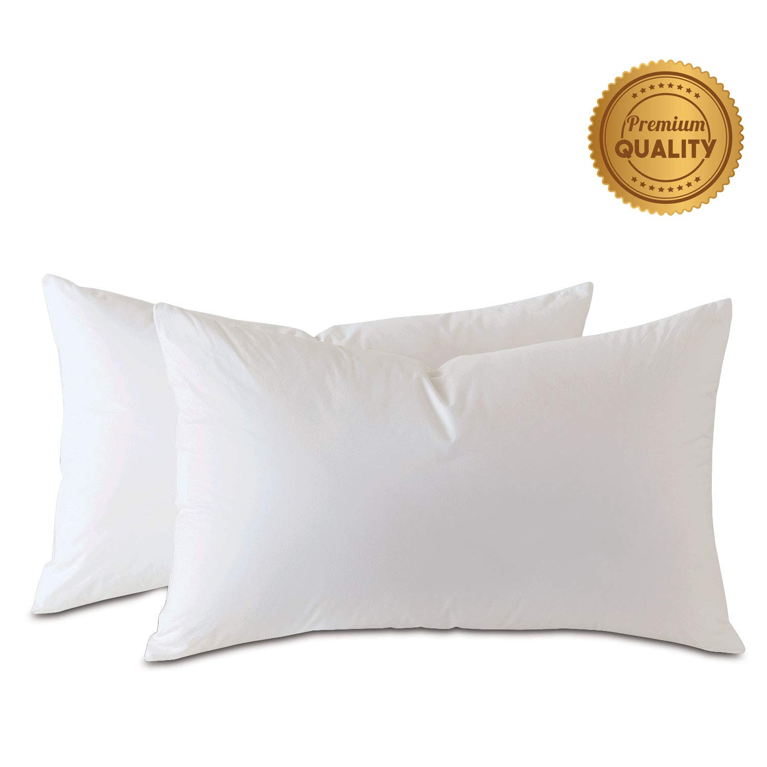 Plankroad Home Décor 13x22 Hypoallergenic Luxury 100% Small Feather Rectangular Pillow Insert, 100% Cambric Cotton Shell, Never Vacuum-Packed, Odorless, Made in USA, Set of 2