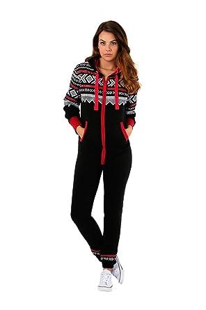 81ce3bb775 janisramone Womens Ladies New Aztec Print Hooded Zip Up All in One Jumpsuit  Fleece Onesie Playsuit Nightwear  Amazon.co.uk  Clothing