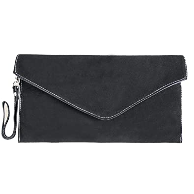 1807e425d6d2 Womens Small Real Italian Suede Slouch Envelope Clutch Bag (Black)   Amazon.co.uk  Shoes   Bags