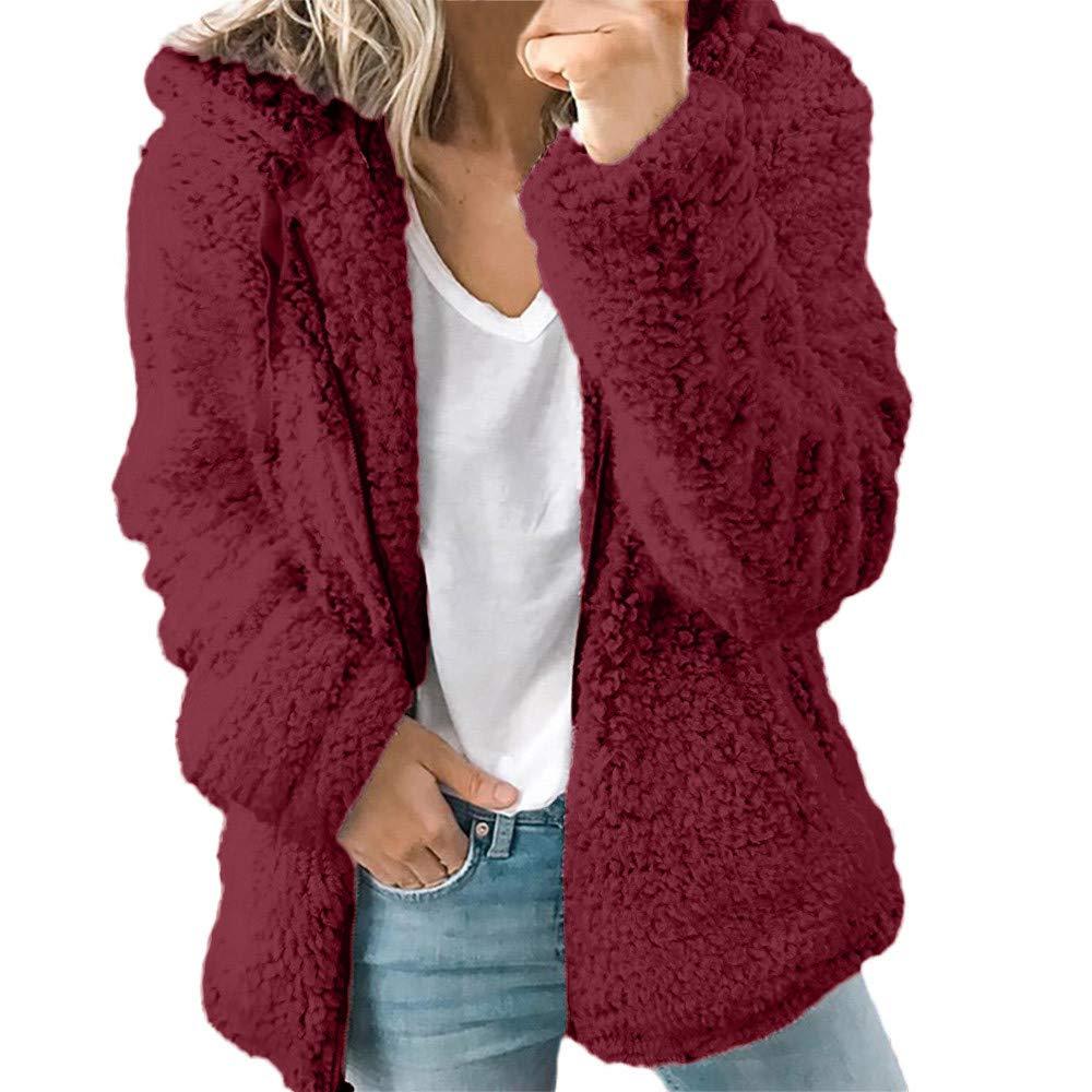 Teddy Jacket Fleece Hooded Coat Fluffy Outwear Womens Autumn Winter Casual Loose Warm Up Sweatshirt Ladies Hooded Jackets Coats