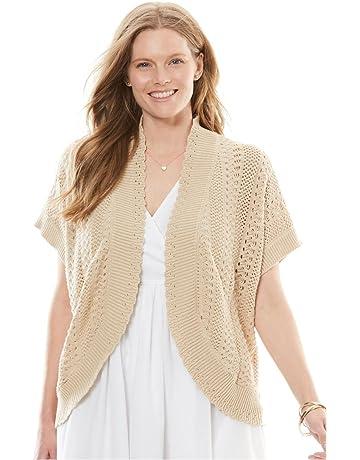32814cbbcf9f6c Woman Within Women s Plus Size Pointelle Knit Shrug