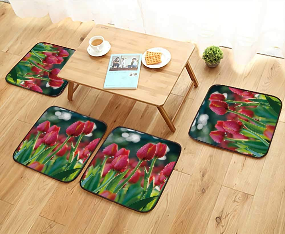 Jiahonghome Universal Chair Cushions Orange Tulip Flowers with Water Drops in Tulip Garden. Personalized Durable W15.5 x L15.5/4PCS Set