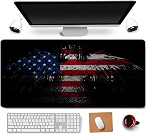 31.5x11.8 Inch Cool US Patriotic Bald Eagle American Flag Non-Slip Rubber Extended Large Gaming Mouse Pad with Stitched Edges Computer Keyboard Mouse Mat PC Accessories (10-American Flag Eagle)