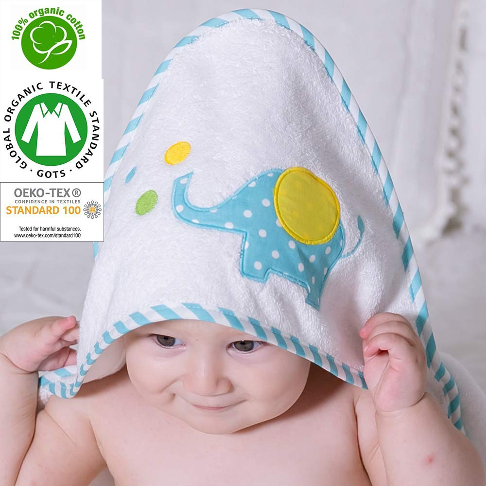 Baby Animal Face Organic Hooded Towel, Baby Bath Towel, Infant/Newborn/Baby Shower Present for Boy&Girls,%100 GOTS Certified(Blue Elephant) by IDEORGANIC