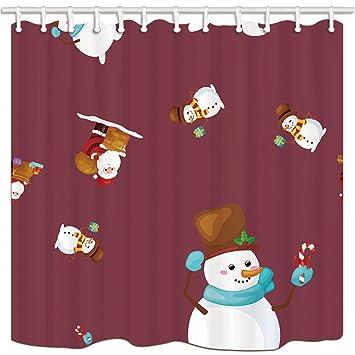 KOTOM cortinas de ducha de baño de Navidad, tema de dibujos animados muñeco de nieve con ...