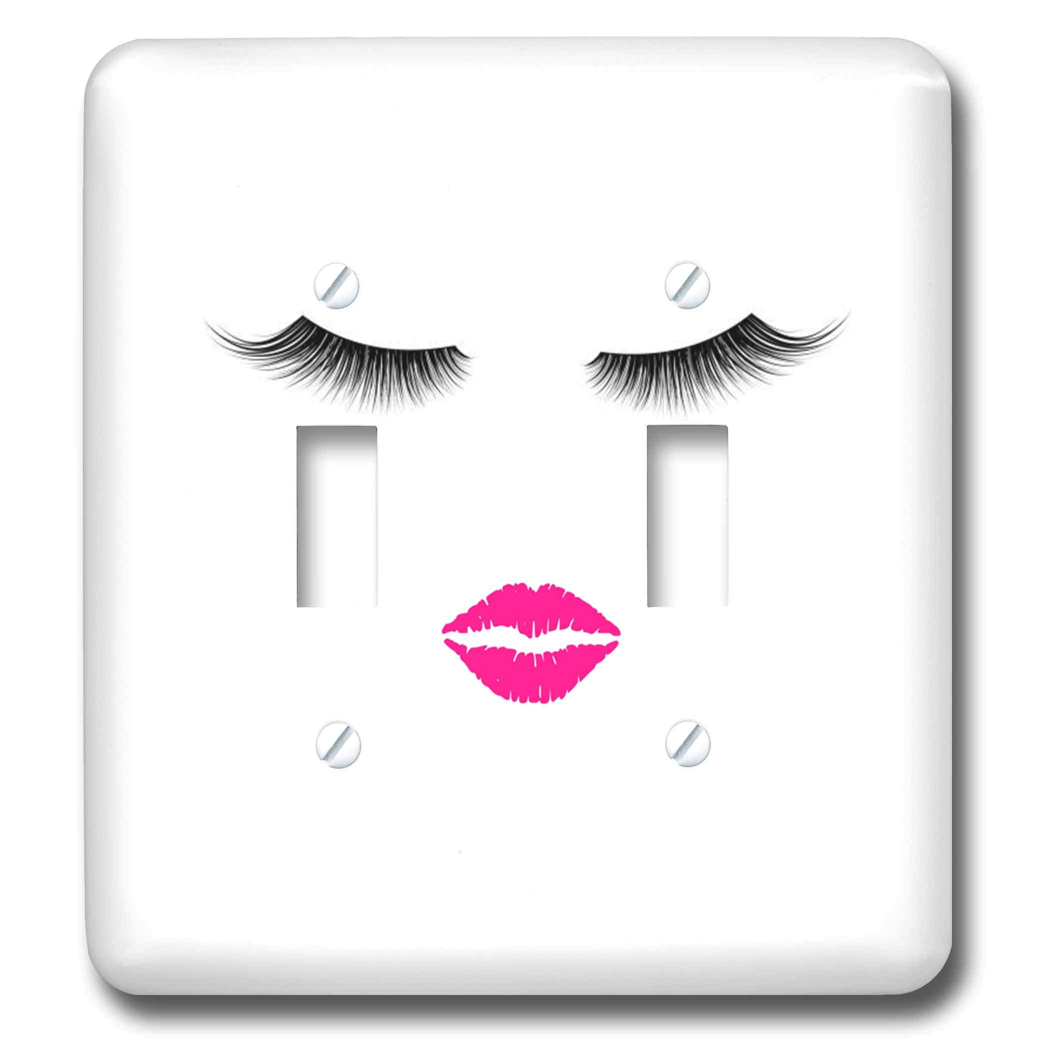 3dRose 3DRose Gabriella B - Face - Image of Eyelashes and Lips - Light Switch Covers - double toggle switch (lsp_291208_2)