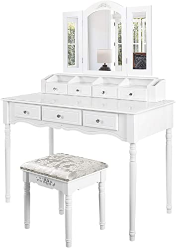 M W Makeup Vanity Table Set with Tri-Folding Mirror, Dressing Table and Cushioned Stool with 7 Drawers for Bedroom, White